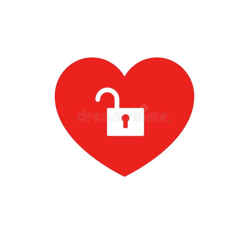 Icône de coeur et de serrure illustration de vecteur