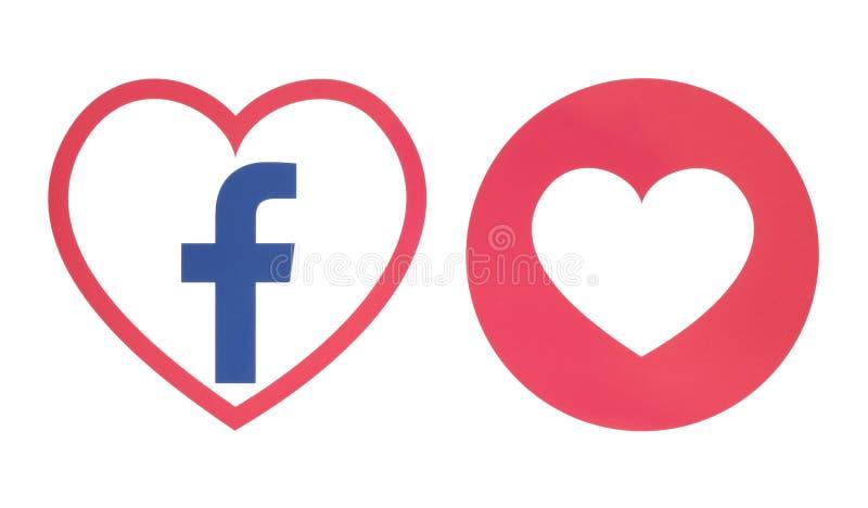 Icône de coeur de Facebook avec la réaction compréhensive d'Emoji d'amour illustration de vecteur