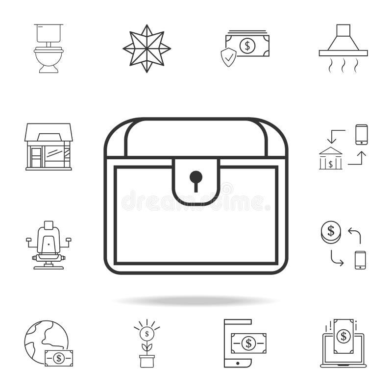 Icône de coffre Ensemble détaillé d'icônes et de signes de Web Conception graphique de la meilleure qualité Une des icônes de col illustration libre de droits