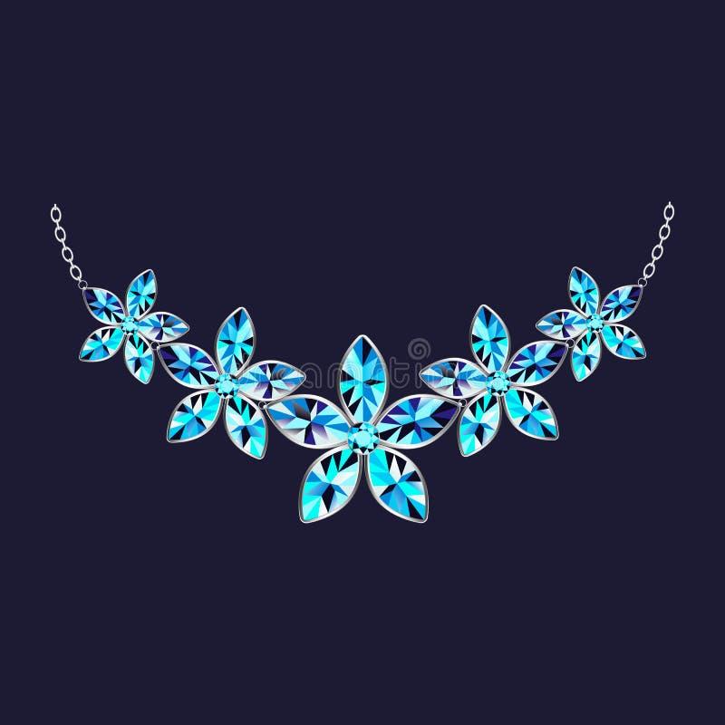 Icône de collier de pierre gemme de fleur, style réaliste illustration stock