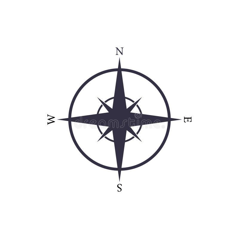 Icône de compas nautique vectoriel simple Signe de carte de navigation illustration stock