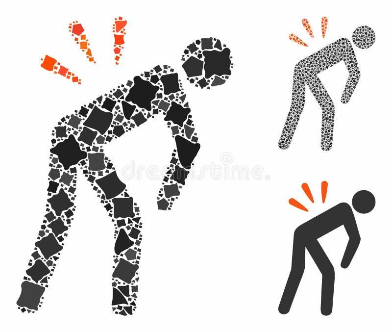 Icône de composition Backache des objets tremblants illustration stock