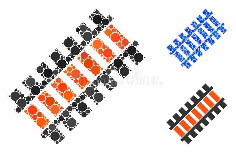 Icône de composition du segment ferroviaire des points arrondis illustration stock