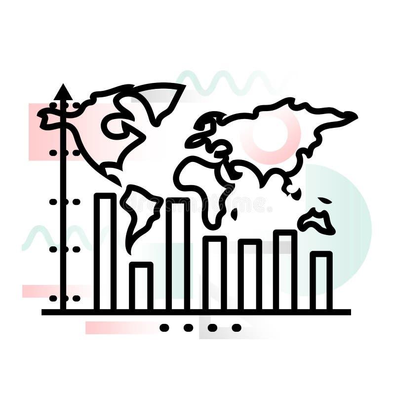 Icône de concept de dynamique de croissance d'affaires globales avec le fond abstrait illustration stock