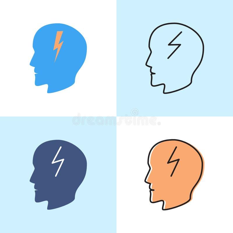 Icône de concept de mal de tête réglée dans l'appartement et la ligne styles illustration stock
