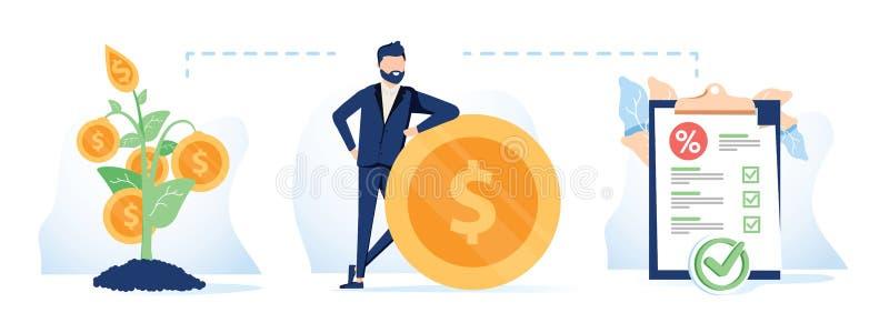 Icône de concept de sources de financement Financia d'idée de gestion financière illustration libre de droits