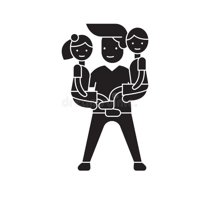 Icône de concept de vecteur de noir de babysitter d'homme Illustration plate de babysitter d'homme, signe illustration de vecteur