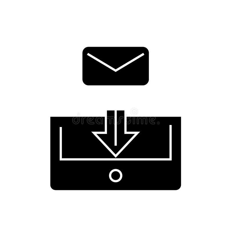 Icône de concept de vecteur de noir de courrier de boîte aux lettres Illustration plate de courrier de boîte aux lettres, signe illustration stock