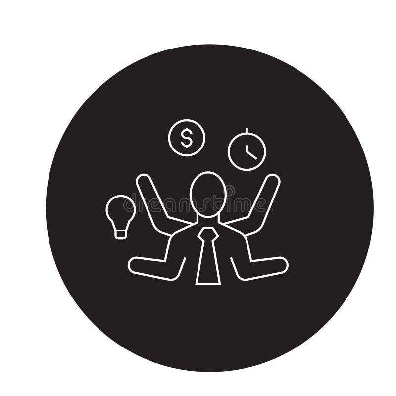 Icône de concept de vecteur de noir de décision de gestion du temps Illustration plate de décision de gestion du temps, signe illustration stock