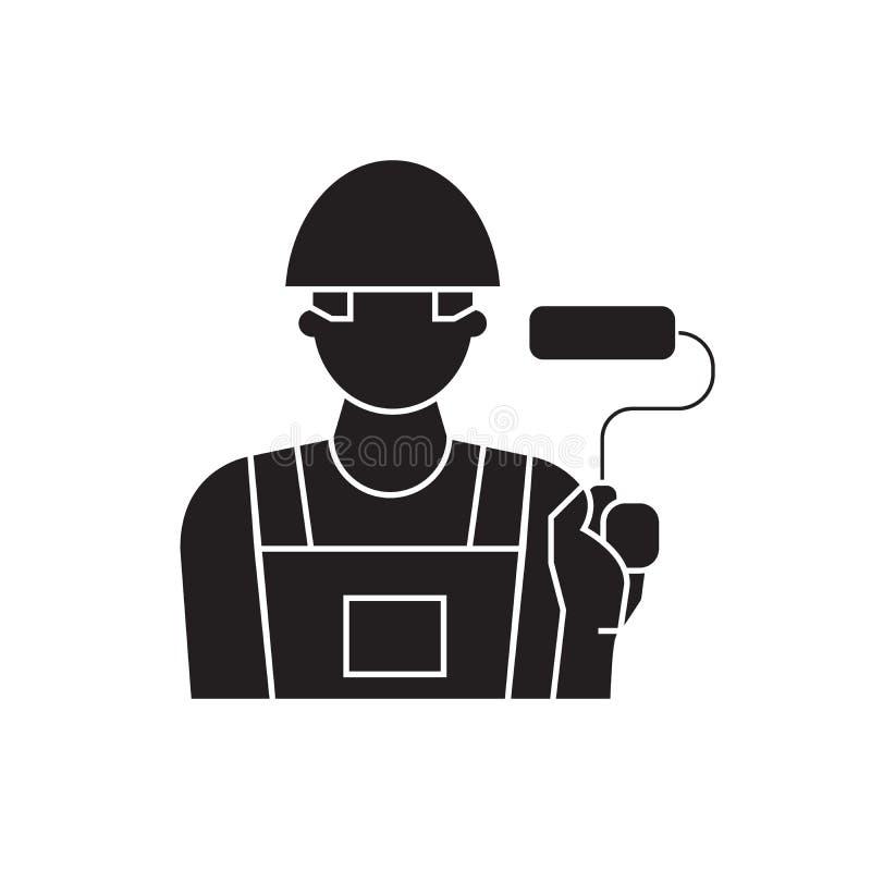 Icône de concept de vecteur de noir de décorateur de peintre Illustration plate de décorateur de peintre, signe illustration stock