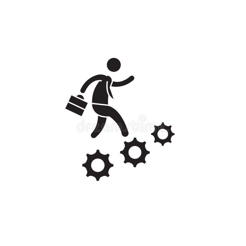 Icône de concept de vecteur de noir d'avancement de carrière Illustration plate d'avancement de carrière, signe illustration libre de droits