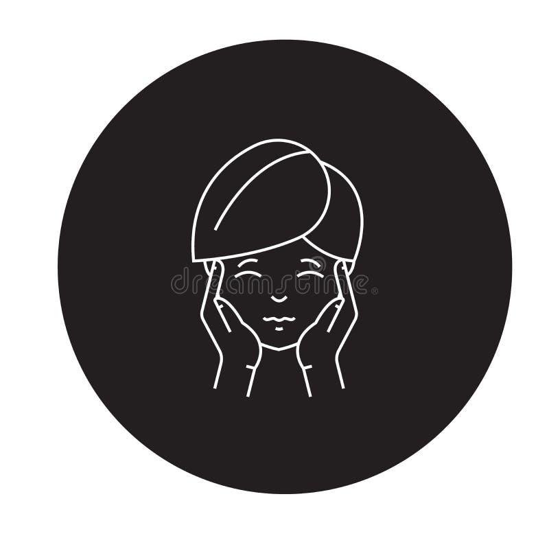 Icône de concept de vecteur de noir de mal de tête Illustration plate de mal de tête, signe illustration de vecteur