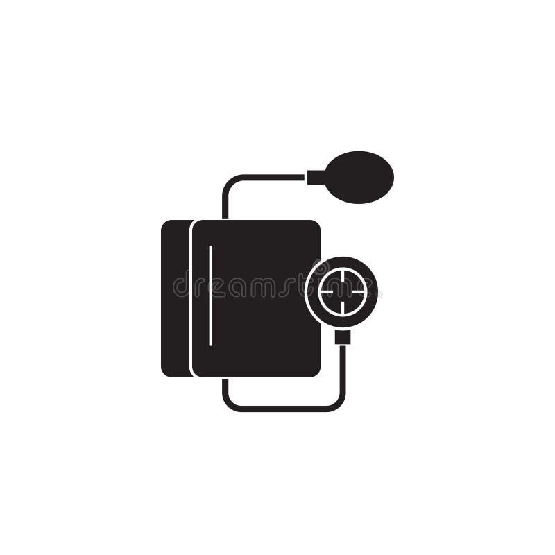 Icône de concept de vecteur de noir de mesure de fréquence cardiaque Illustration plate de mesure de fréquence cardiaque, signe illustration stock