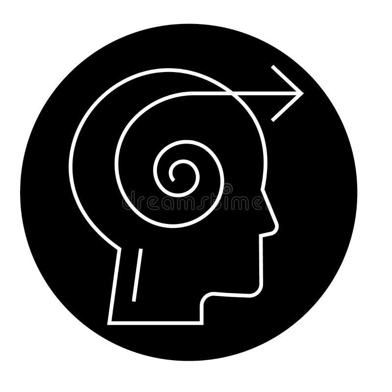 Icône de concept de vecteur de noir de tête de décision de foyer Illustration plate de tête de décision de foyer, signe illustration stock