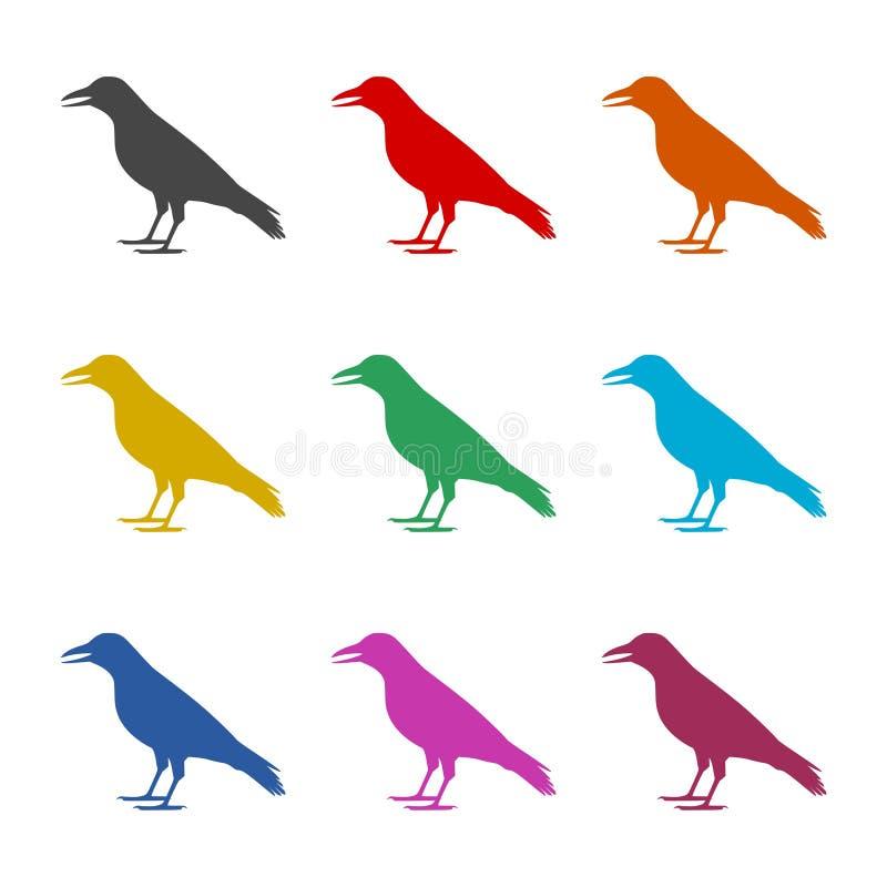 Icône de conception d'illustration de vecteur de corneille, silhouette de corneille, icônes de couleur réglées illustration libre de droits