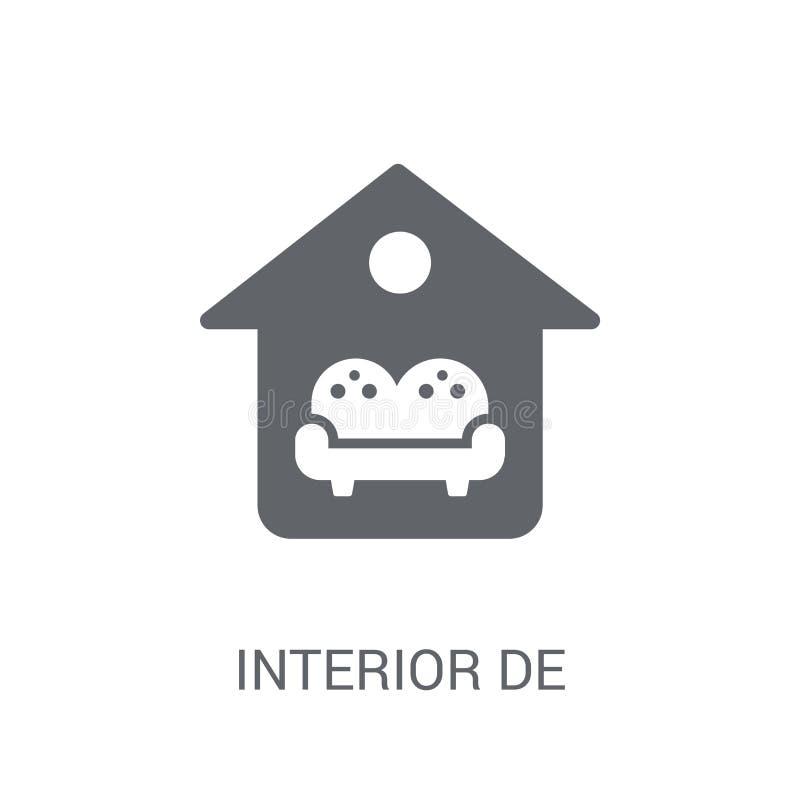 Icône de conception intérieure Concept à la mode de logo de conception intérieure sur le whi illustration stock