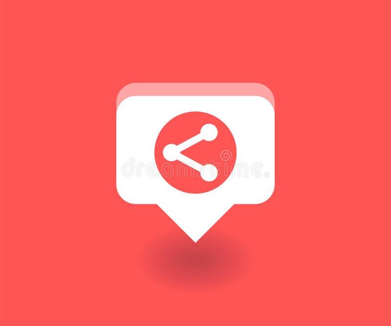 Icône de conection de réseau, symbole de vecteur dans le style plat d'isolement sur le fond rouge Illustration sociale de media illustration stock