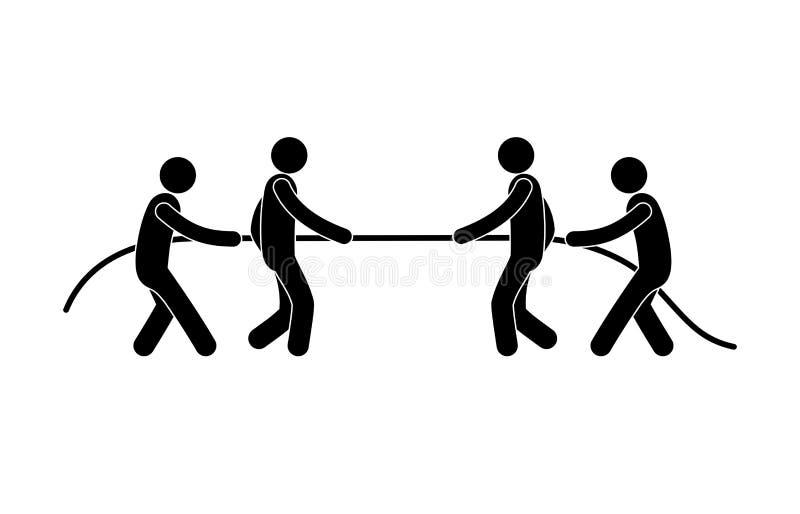 Icône de conflit, compétition sportive, icône de personne, illustration stock