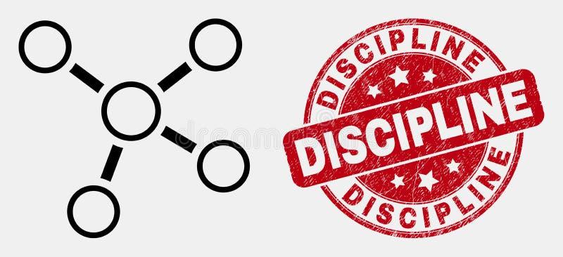 Icône de connexions de découpe de vecteur et joint grunge de timbre de discipline illustration de vecteur