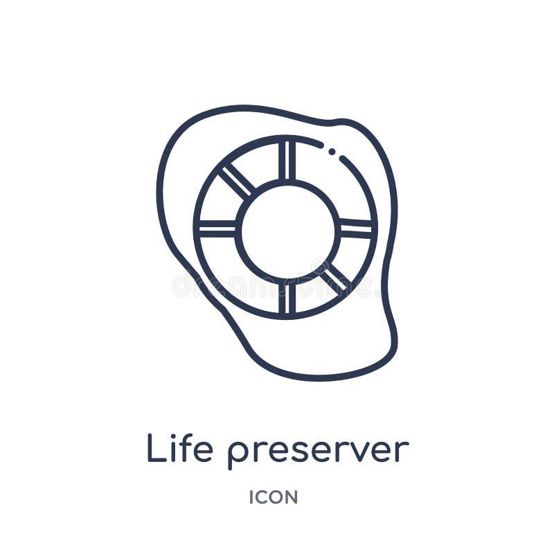 Icône de conservateur de vie de la collection nautique d'ensemble Ligne mince icône de conservateur de vie d'isolement sur le fon illustration de vecteur