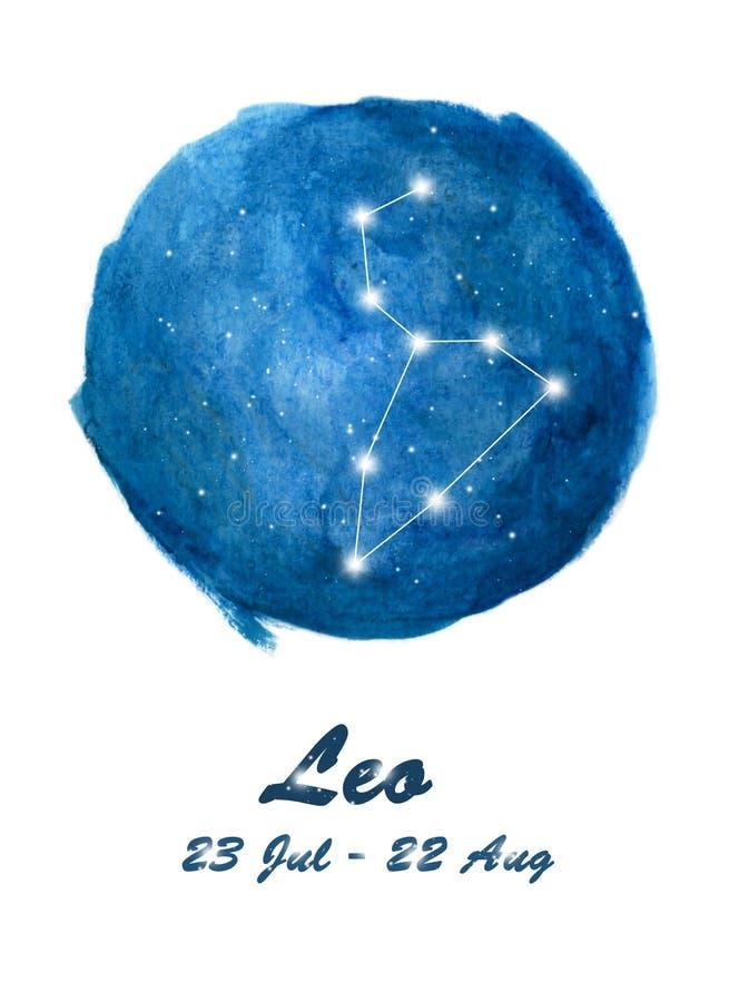 Icône de constellation de Lion de signe Lion de zodiaque dans l'espace cosmique d'étoiles Ciel nocturne étoilé bleu à l'intérieur illustration de vecteur