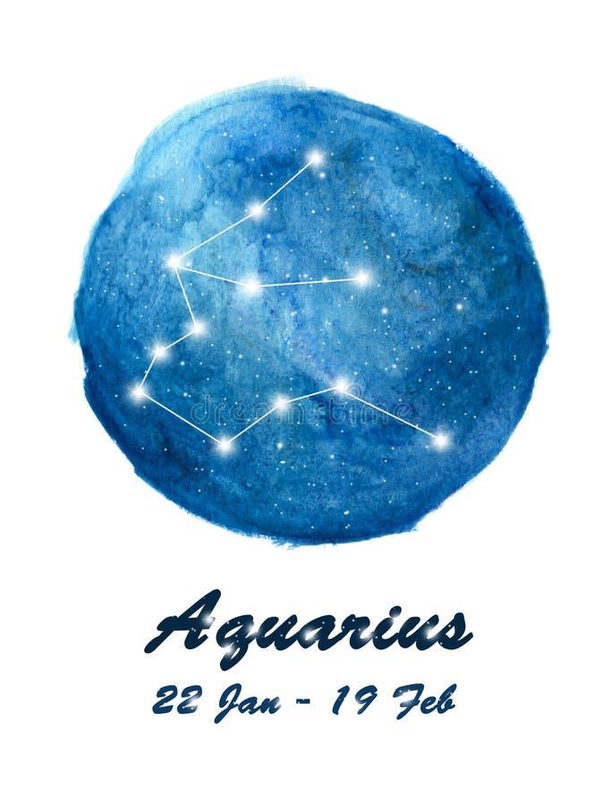 Icône de constellation de Verseau de Verseau de signe de zodiaque dans l'espace cosmique d'étoiles Ciel nocturne étoilé bleu à l' illustration libre de droits