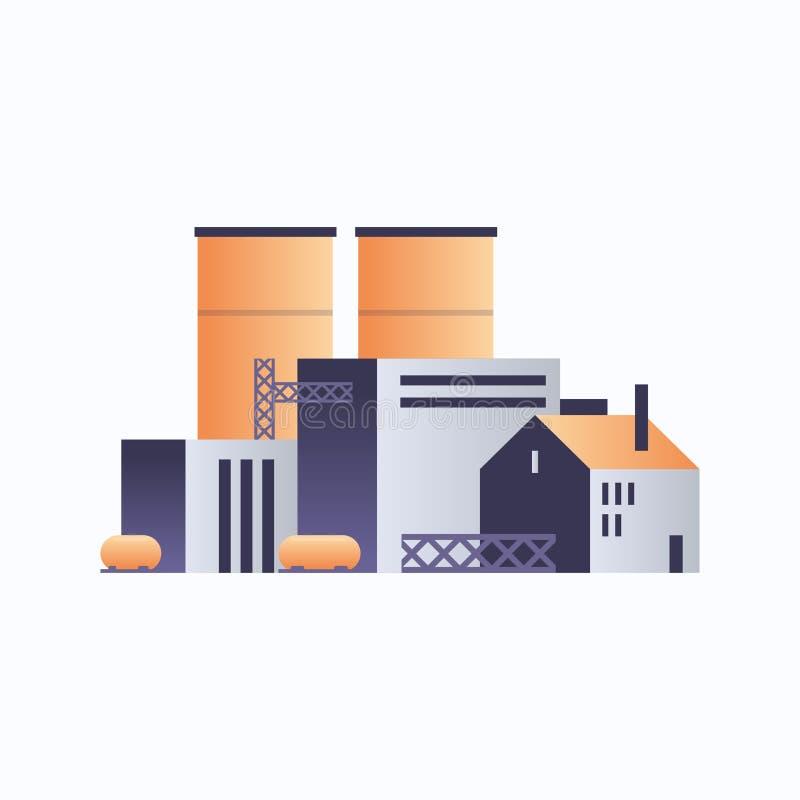 Icône de construction d'usine usine usine usine avec tuyaux et cheminée environnement de centrale électrique et élément énergétiq illustration libre de droits