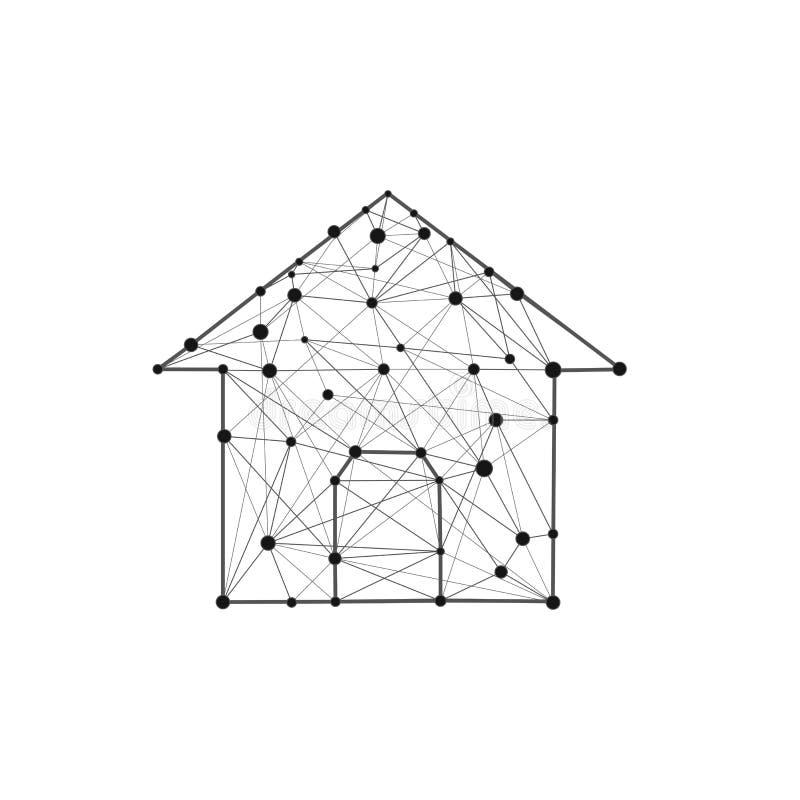 Icône de construction de logements composée de lignes et de points de polygones Symbole à la maison d'isolement Basse poly illust illustration stock