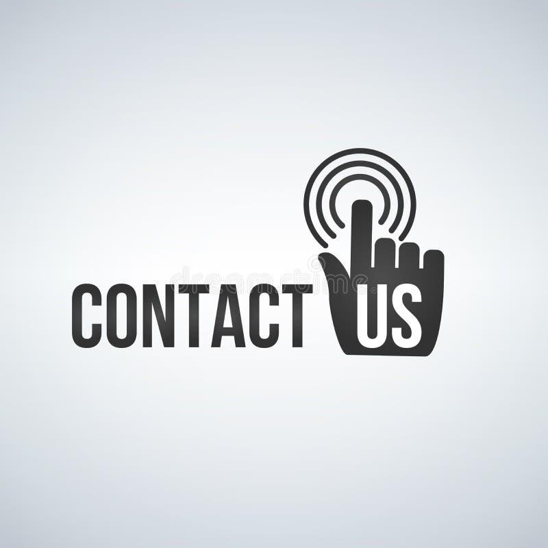 Icône de contactez-nous avec le curseur et les vagues de souris de main Illustration de vecteur d'isolement sur le fond blanc illustration de vecteur