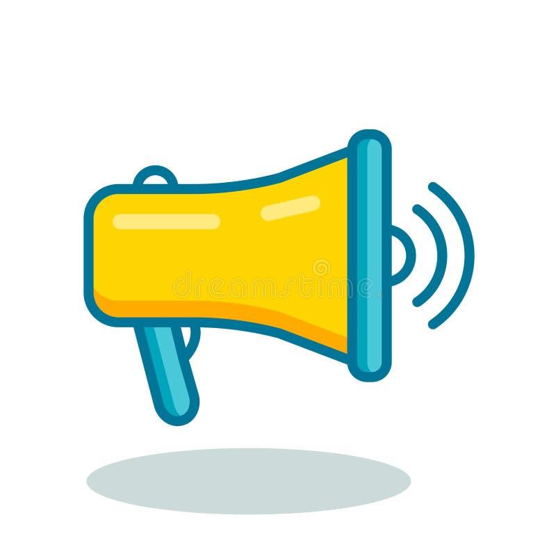 Icône de contour plat de la mégaphone jaune illustration libre de droits