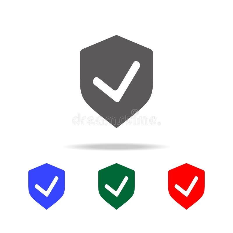 Icône de contrôle de bouclier Éléments des icônes colorées multi de sécurité de cyber Icône de la meilleure qualité de conception illustration de vecteur
