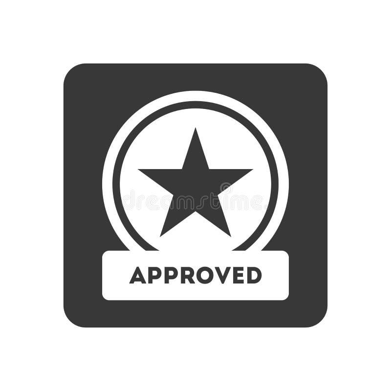 Icône de contrôle de qualité avec le symbole approuvé illustration libre de droits