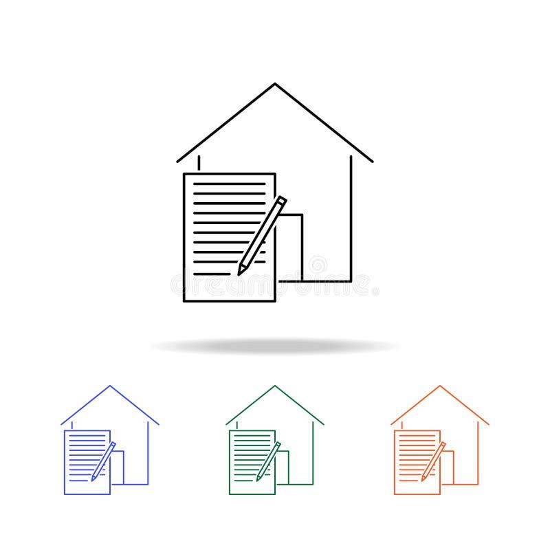 Icône de contrat de bail Éléments des immobiliers dans les icônes colorées multi Icône de la meilleure qualité de conception grap illustration libre de droits