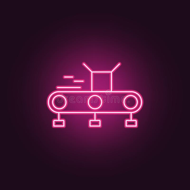 Icône de convoyeur Éléments de la fabrication dans les icônes au néon de style E illustration stock