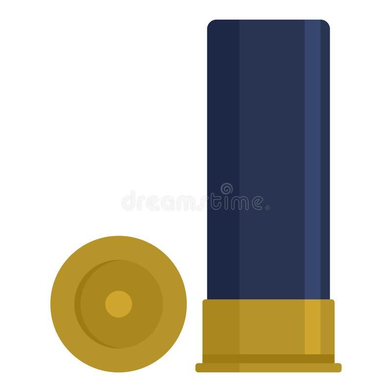 Icône de coquille de cartouche de fusil de chasse, style plat illustration libre de droits