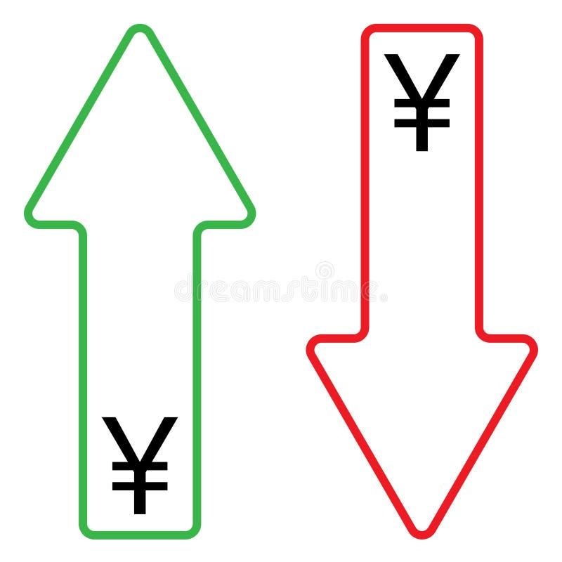 Icône de couleur croissante et en baisse de yuans illustration libre de droits
