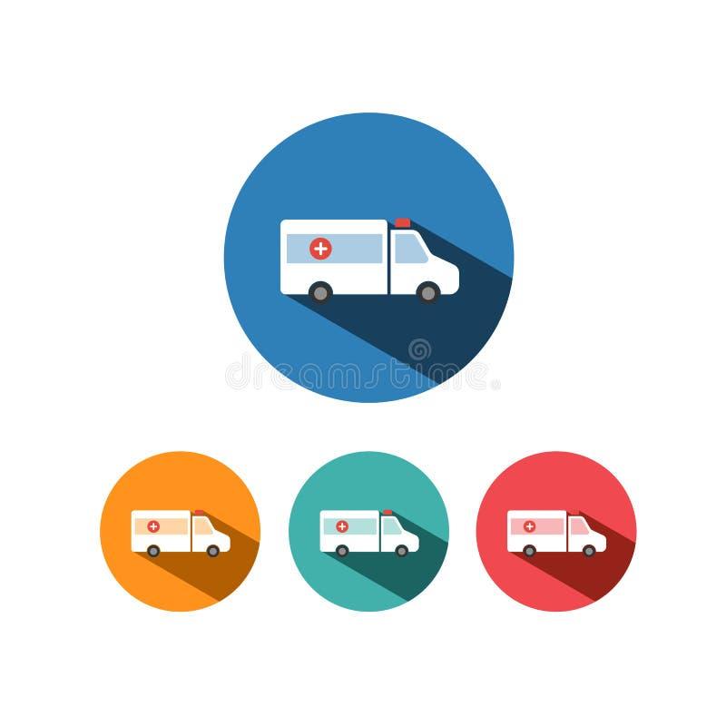 Icône de couleur d'ambulance avec l'ombre sur les cercles colorés illustration libre de droits