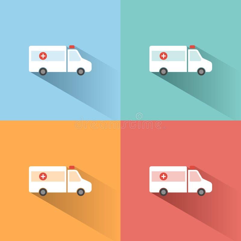 Icône de couleur d'ambulance avec l'ombre sur les milieux colorés illustration de vecteur