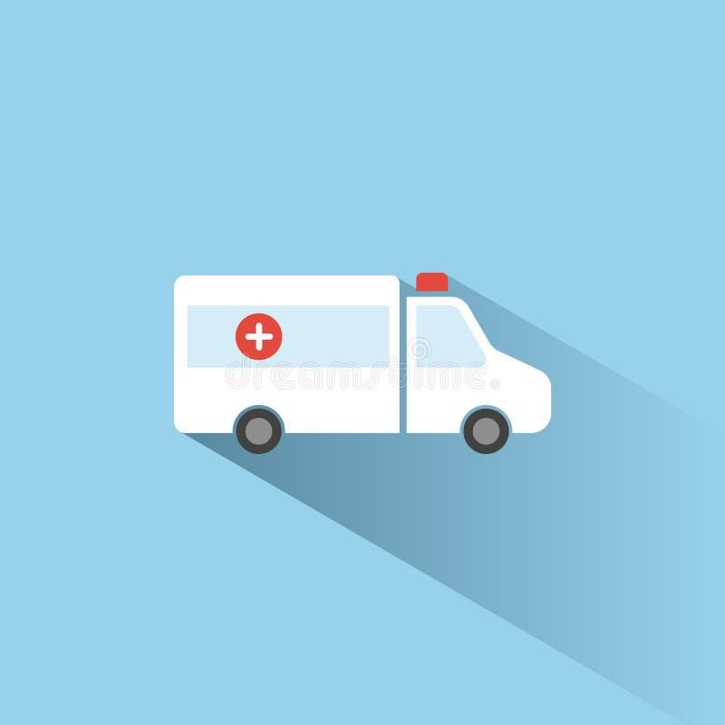 Icône de couleur d'ambulance avec l'ombre sur un fond bleu illustration stock
