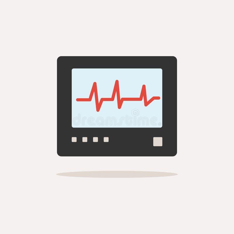 Icône de couleur de moniteur de fréquence cardiaque avec l'ombre heartbeat illustration de vecteur