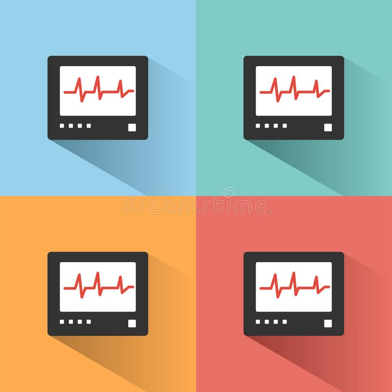 Icône de couleur de moniteur de fréquence cardiaque avec l'ombre sur les milieux colorés heartbeat illustration libre de droits