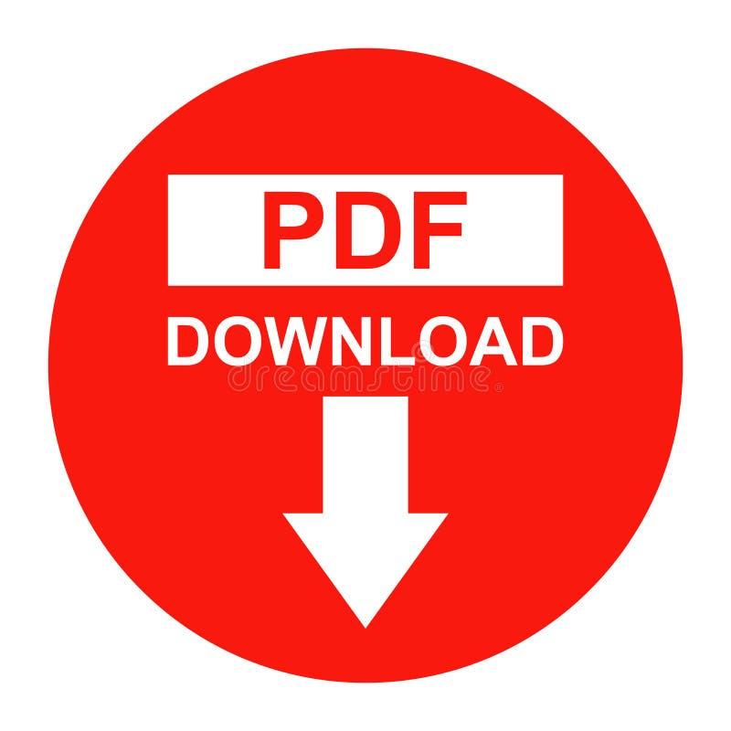 Icône de couleur rouge de bouton de téléchargement de dossier de PDF de vecteur illustration libre de droits