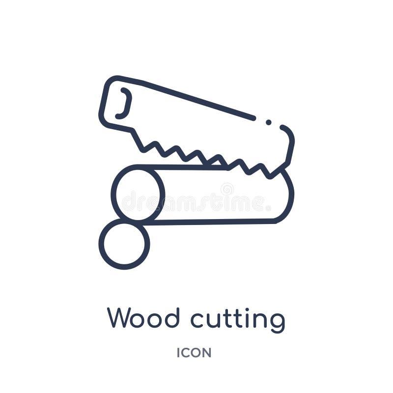 Icône de coupure en bois linéaire de la collection agricole et de jardinage d'agriculture d'ensemble Ligne mince vecteur de coupu illustration de vecteur
