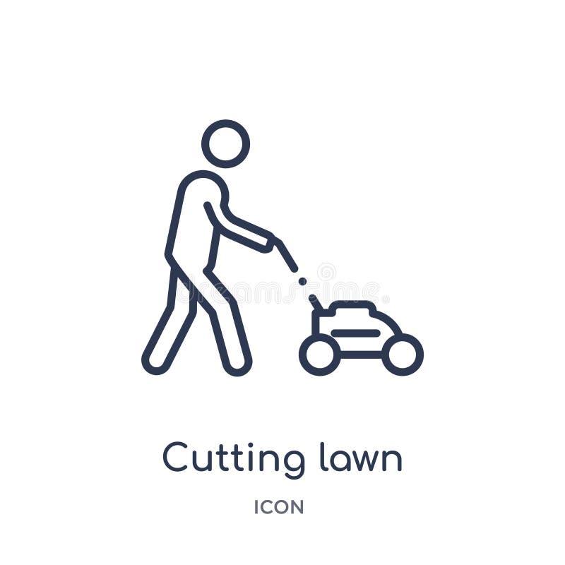 Icône de coupure linéaire de pelouse de collection d'ensemble de comportement Ligne mince coupant le vecteur de pelouse d'isoleme illustration stock