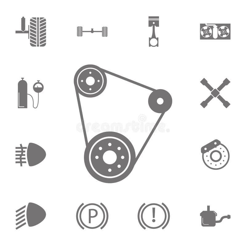 Icône de courroie Ensemble d'icônes de réparation de voiture Signes de collection, icônes simples pour des sites Web, web design, illustration libre de droits