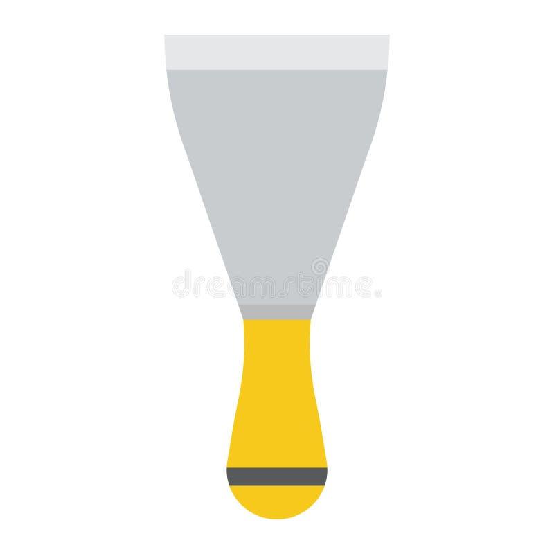 Icône de couteau de mastic, construction et réparation plates, spatule illustration stock