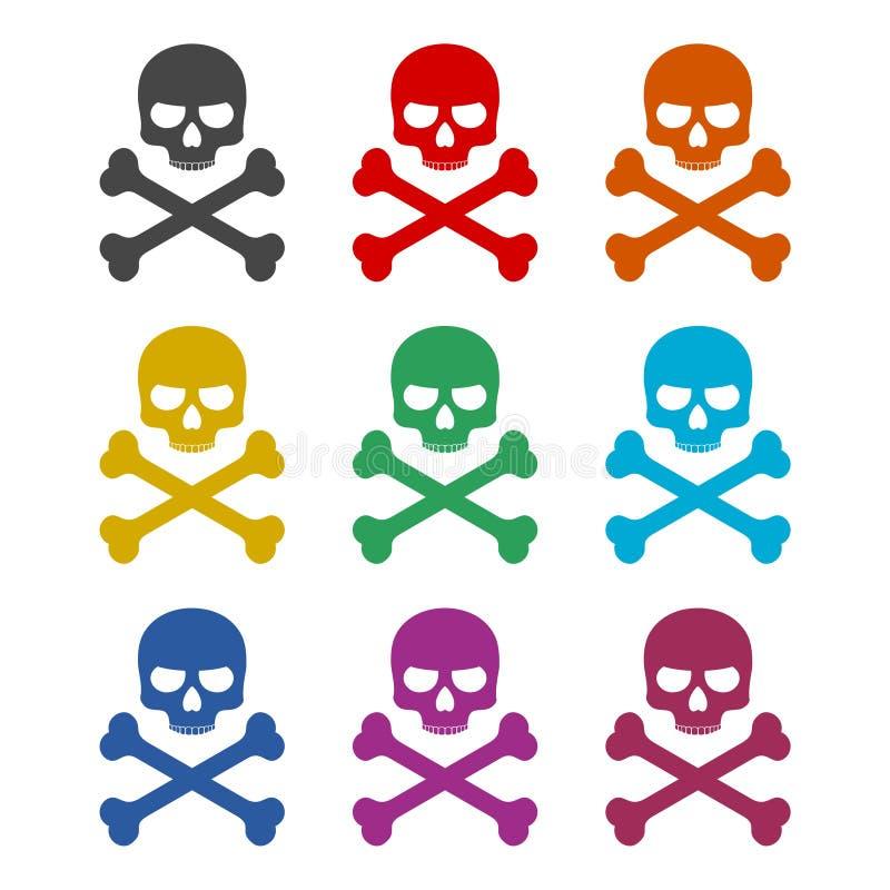 Icône de crâne ou logo, ensemble de couleur illustration stock