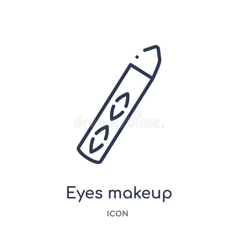 icône de crayons de maquillage de yeux de collection d'ensemble d'outils et d'ustensiles Ligne mince icône de crayons de maquilla illustration libre de droits