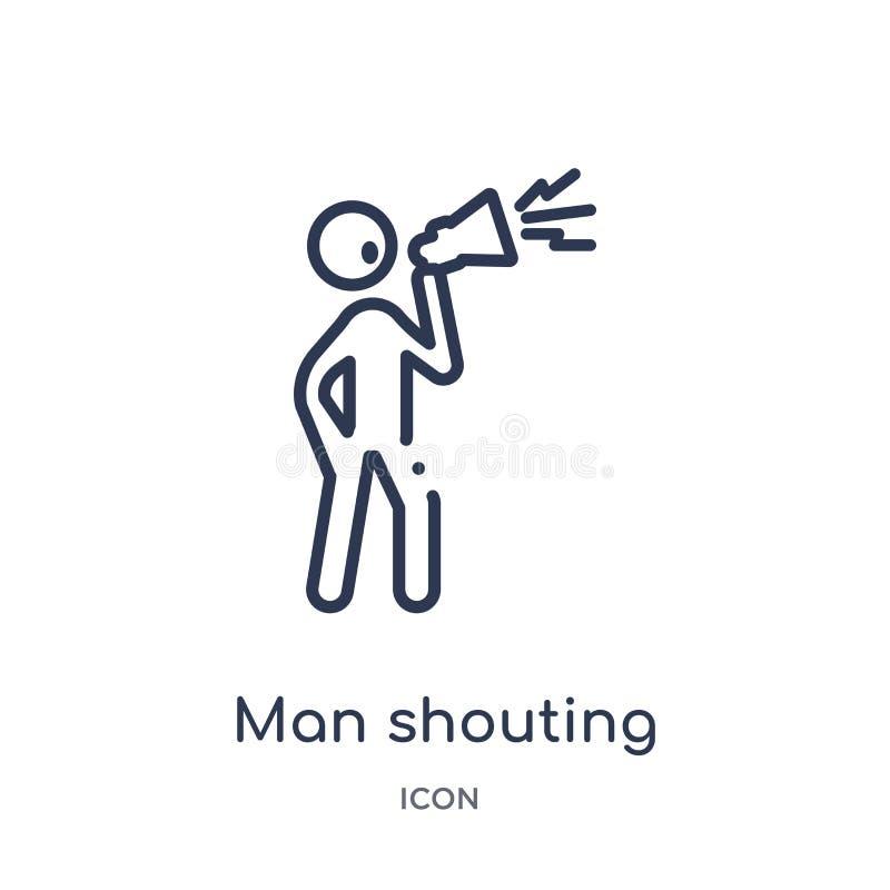 Icône de cri d'homme linéaire de collection d'ensemble de comportement Ligne mince vecteur de cri d'homme d'isolement sur le fond illustration libre de droits