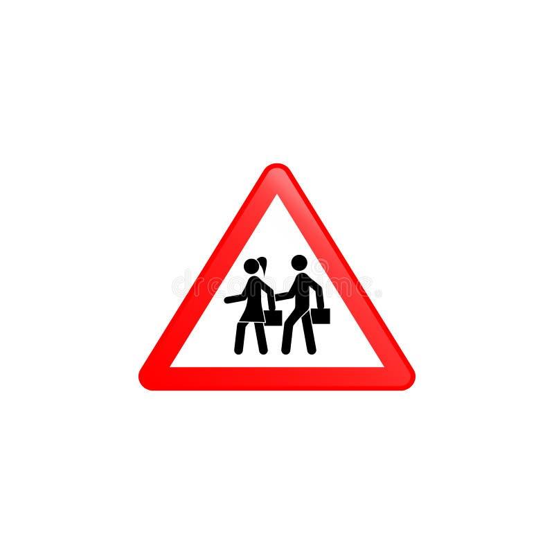Icône de croisement d'école Élément d'icône de panneaux routiers pour les apps mobiles de concept et de Web L'icône colorée de cr illustration de vecteur